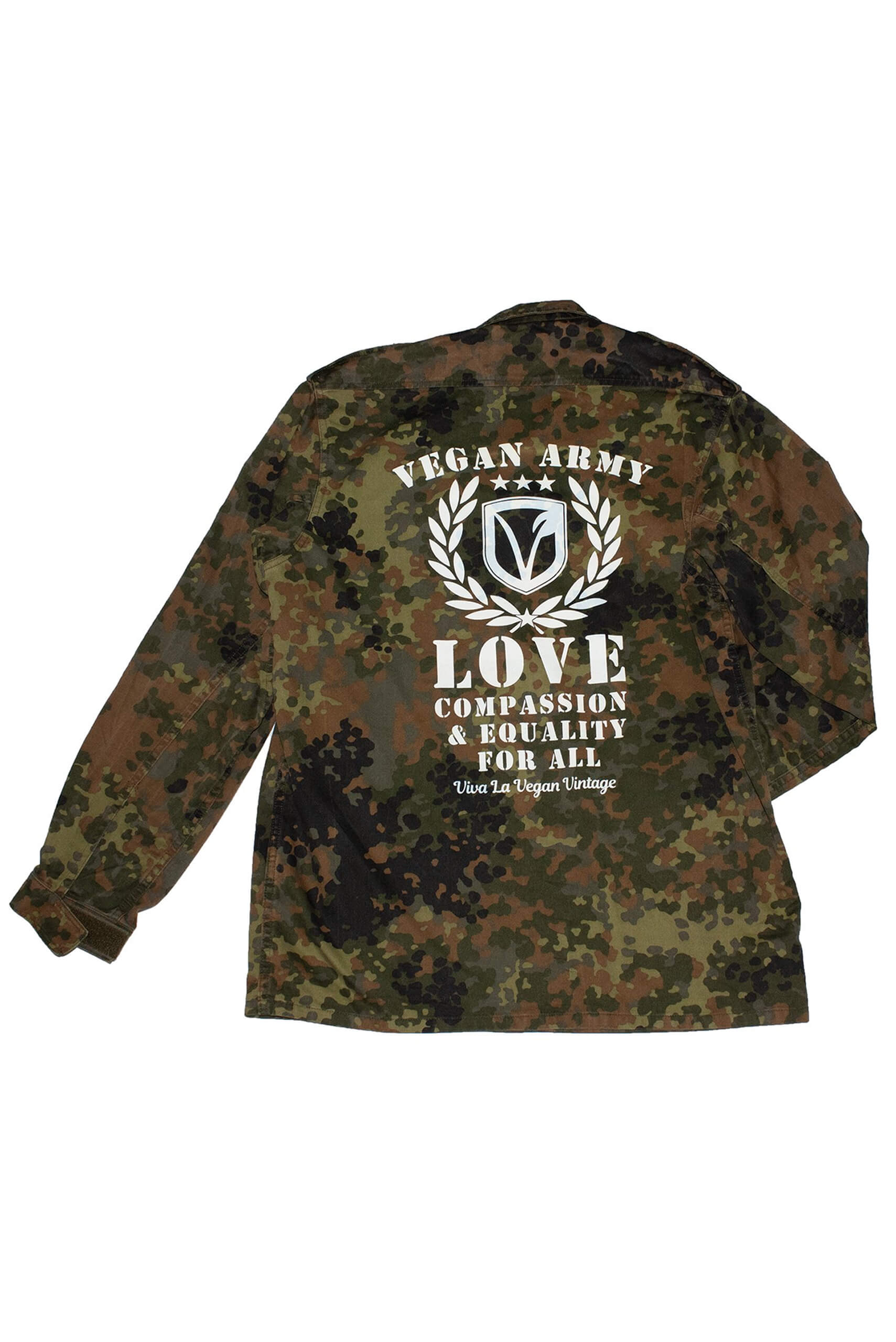 REWORKED VLVV: Army Surplus Camo : Vegan Army (unisex) White by eco-ethical brand Viva La Vegan