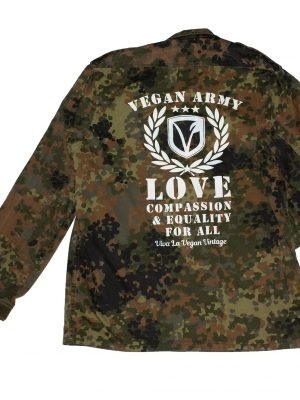 REWORKED VLVV: Army Surplus Camo : Vegan Army (unisex) White by eco-ethical brand Viva La Vegan