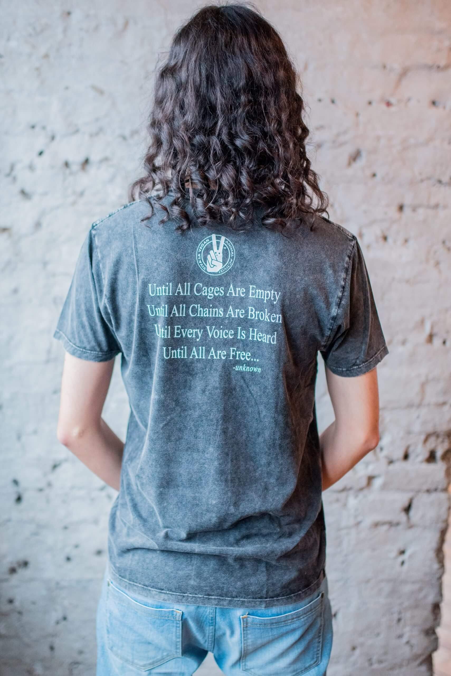 Male Model Wearing Acid Wash Break The Cycle Vegan Statement T Shirt