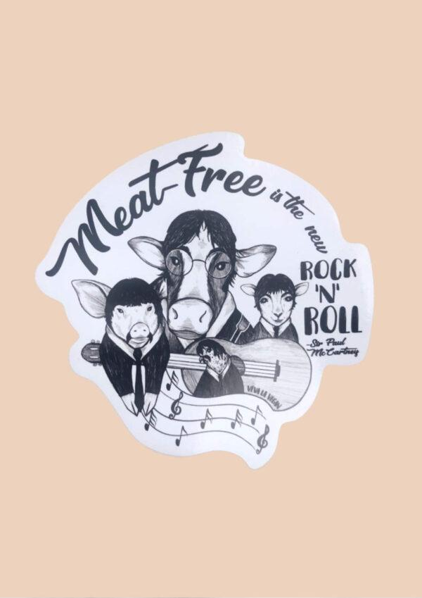 Vinyl Sticker Meat-free is the new rock n roll