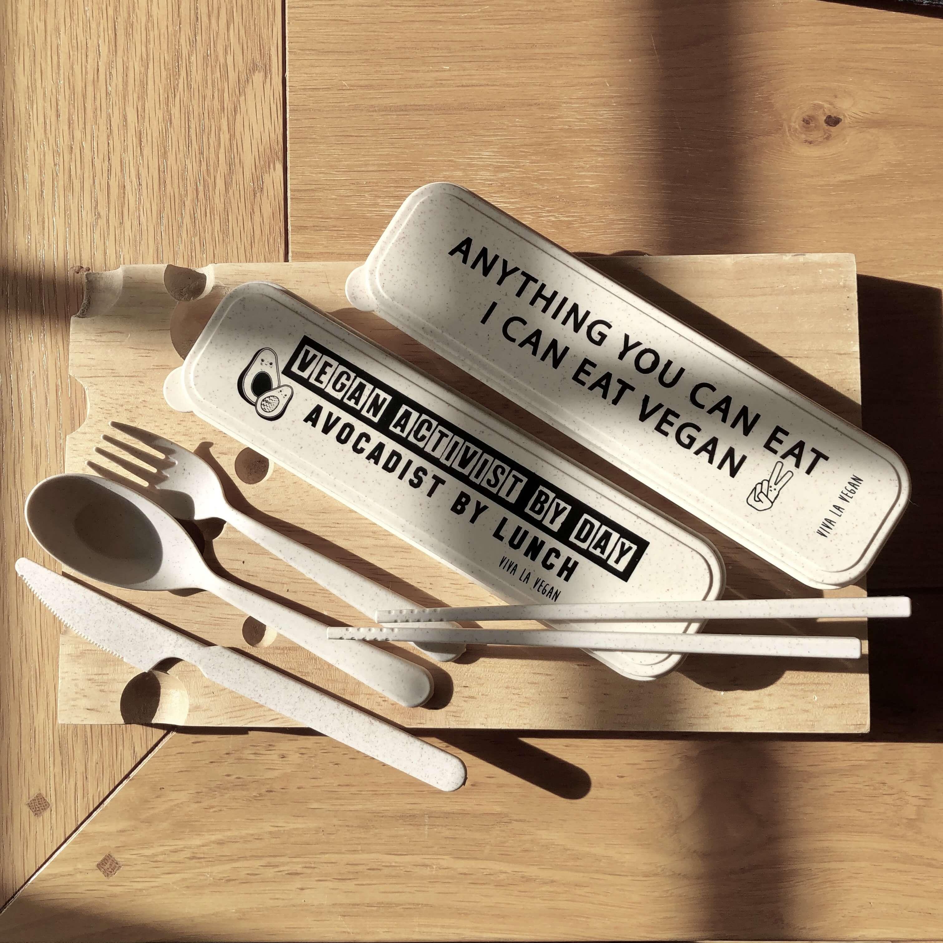 Reusable wheat cutlery set: I Can Eat Vegan