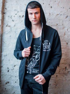 vegan activist zip hoodie front