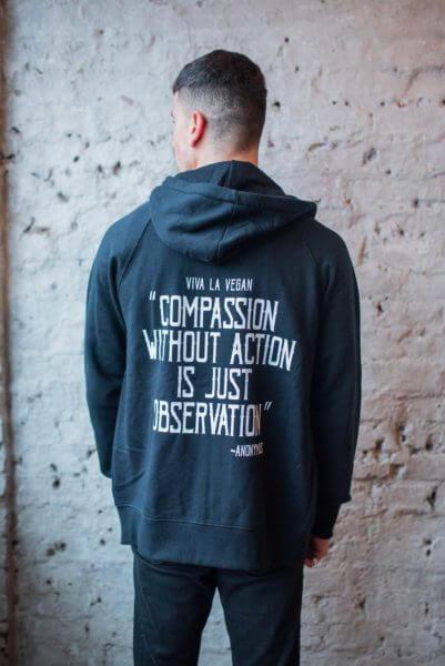 vegan activist zip hoodie back