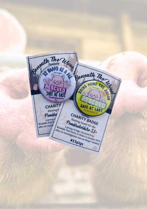 Charity Badge for Beneath The Woods Animal Sanctuary by eco-ethical brand Viva La Vegan
