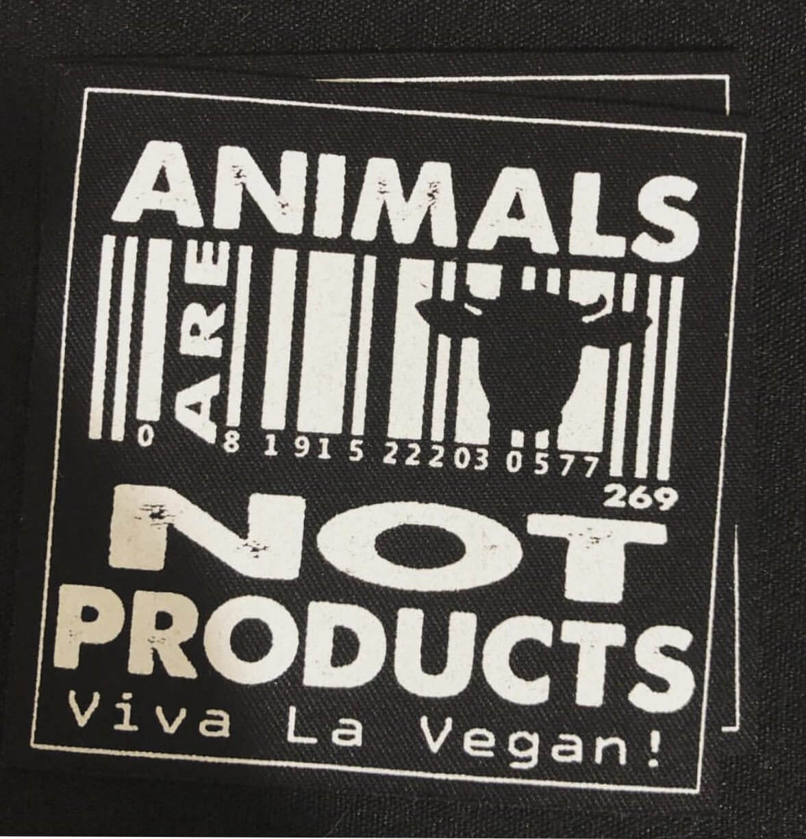 Printed Patch Square - Animals Are Not Products
