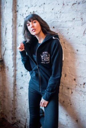 rebel with a cause zip hoodie front