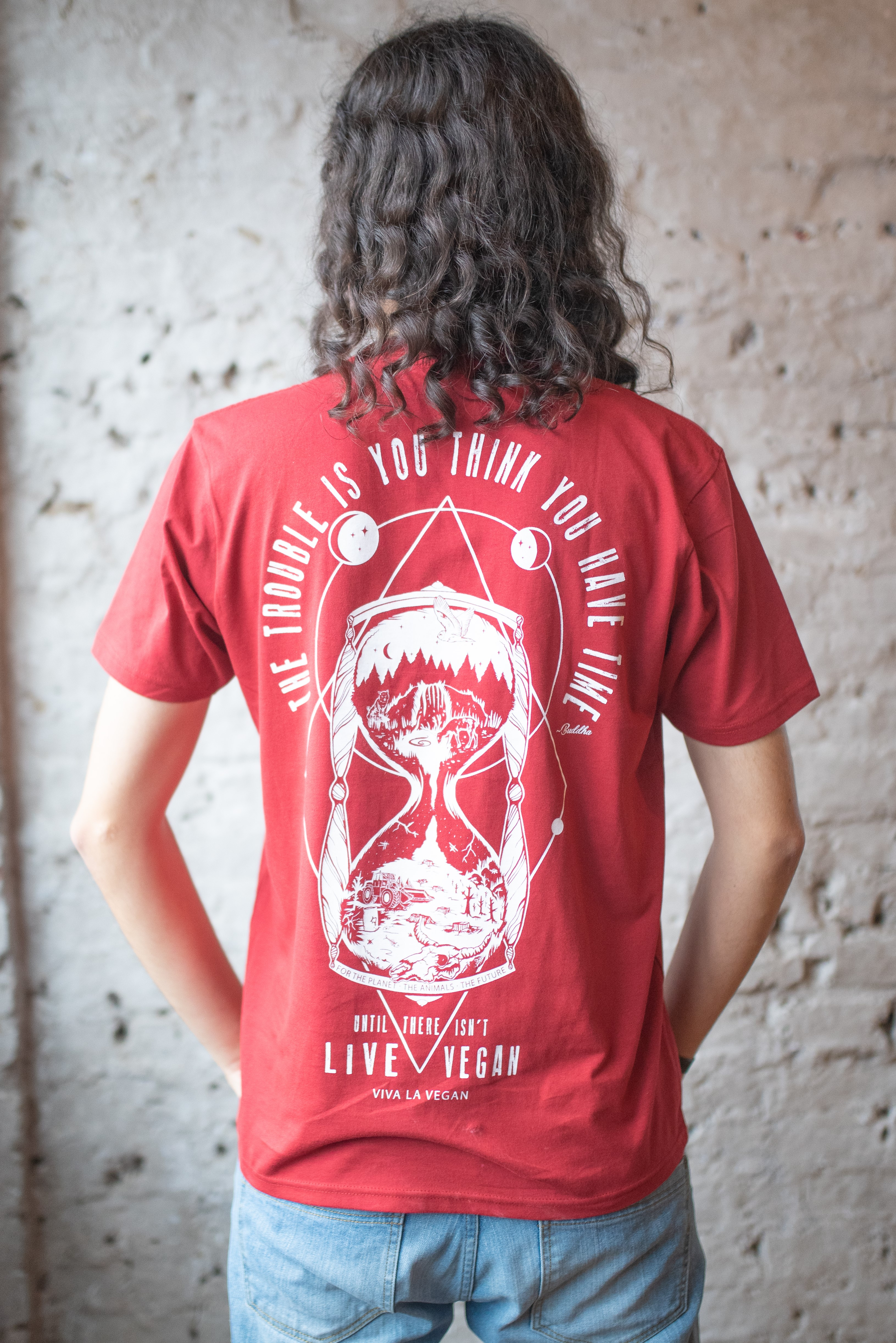 Rear print view of Model wearing The Time is Now Vegan Statement Tshirt