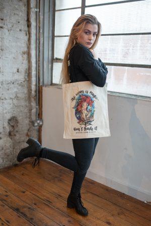 Mermaid bag with black straps and gusset by eco-ethicalbrand Viva La Vegan