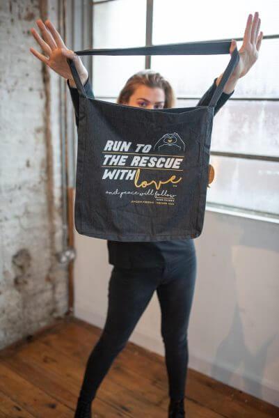Run to the rescue bad. Dark grey, by eco-ethical brand Viva La Vegan