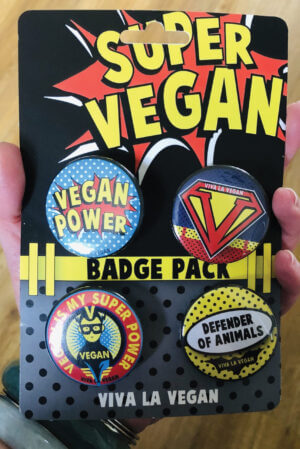 Badge Pack x 4 Set 38mm: Super Vegan by eco-ethical brand Viva La Vegan