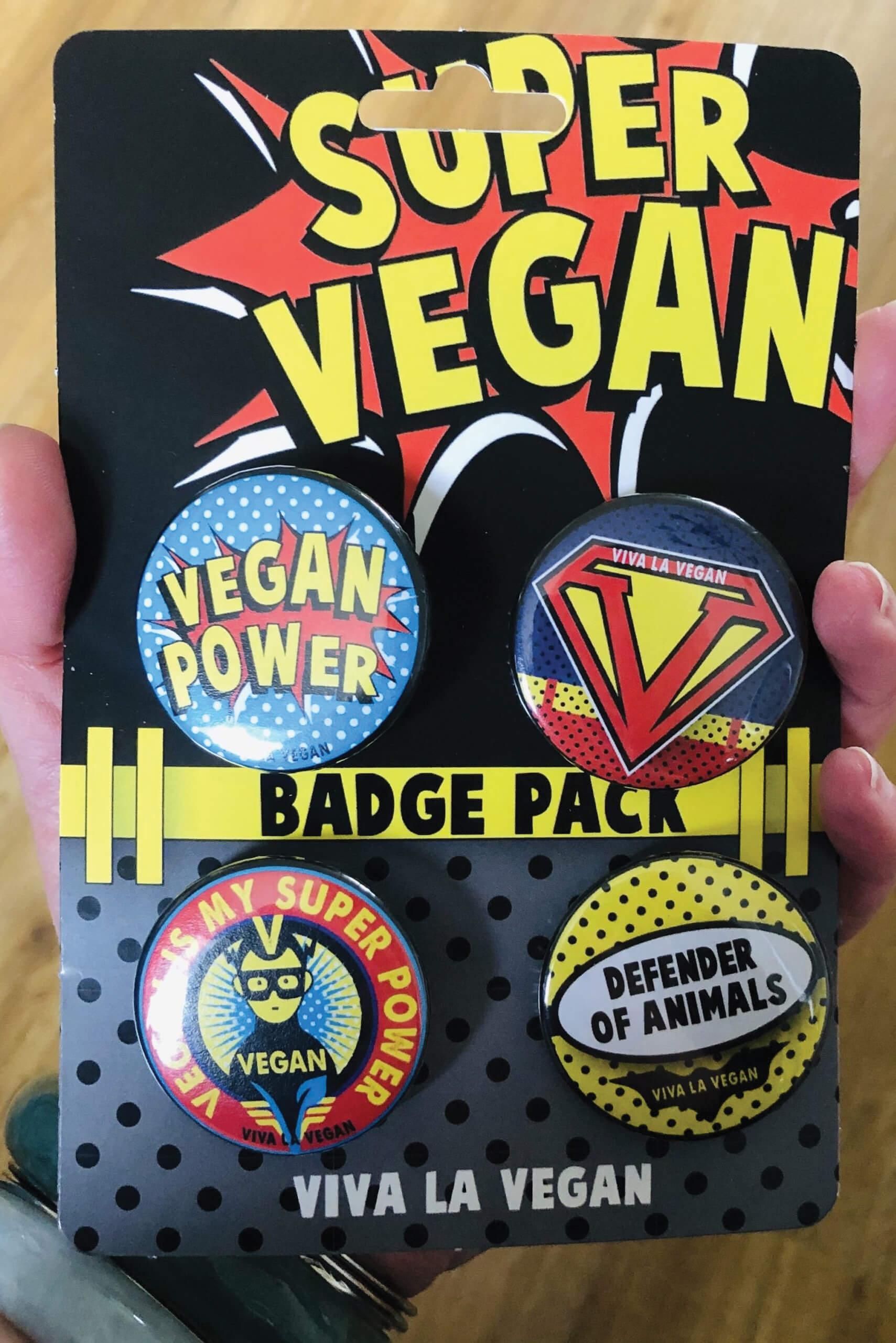 Badge Pack x 4 Set 38mm: Super Vegan by eco-ethical brand Viva La Vegan