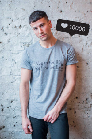 "Vegan Model Wearing Organic Statement TShirt ""vegan for life"""