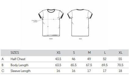 ladies tshirt size spec