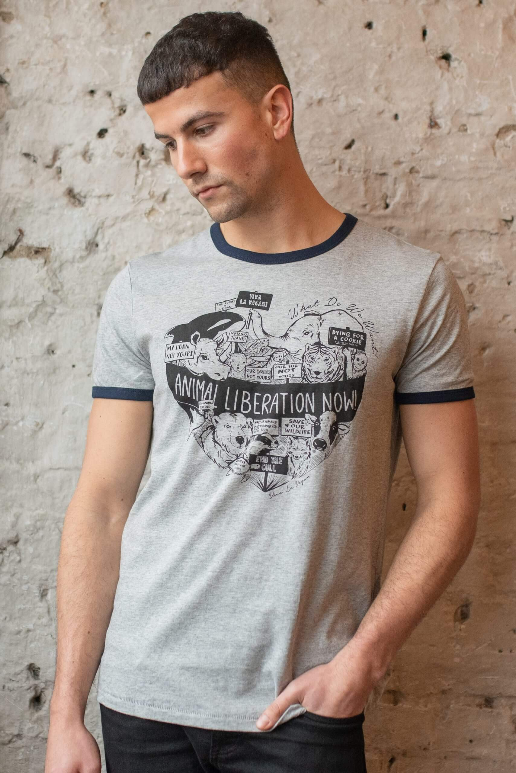 male model wearing unisex style animal liberation designed t shirt