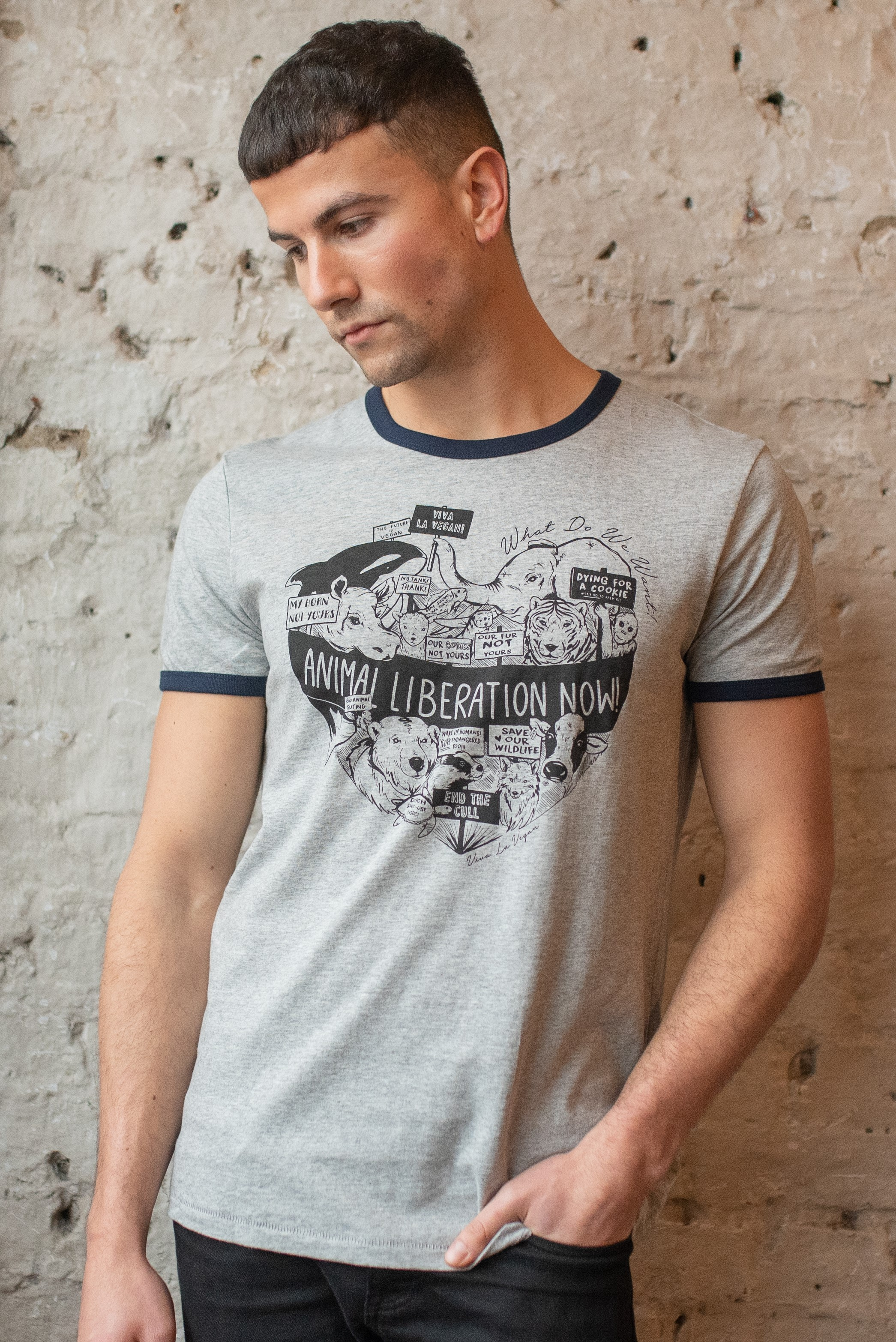 male model wearing unisex style animal liberation designed t shirt