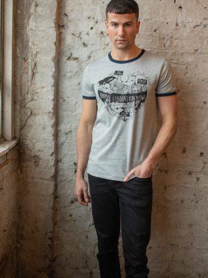 model wearing vegan cotton t shirt with animal liberation design