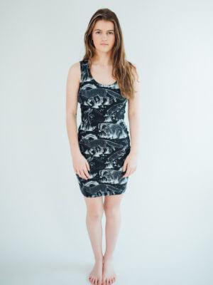 Vegan Model wearing wildlife all over print dress full view