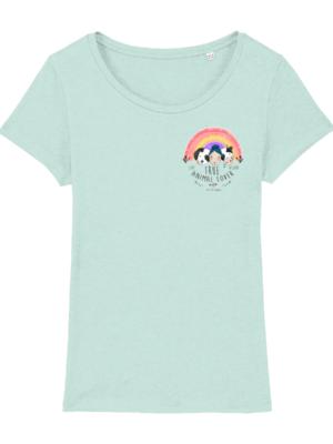 Vegan Animal Lover T Shirt in Columbian Blue