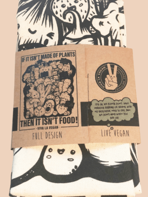 Vegan Tea Towel with vegetable print. 100% Organic Cotton by eco-ethical brand Viva La Vegan