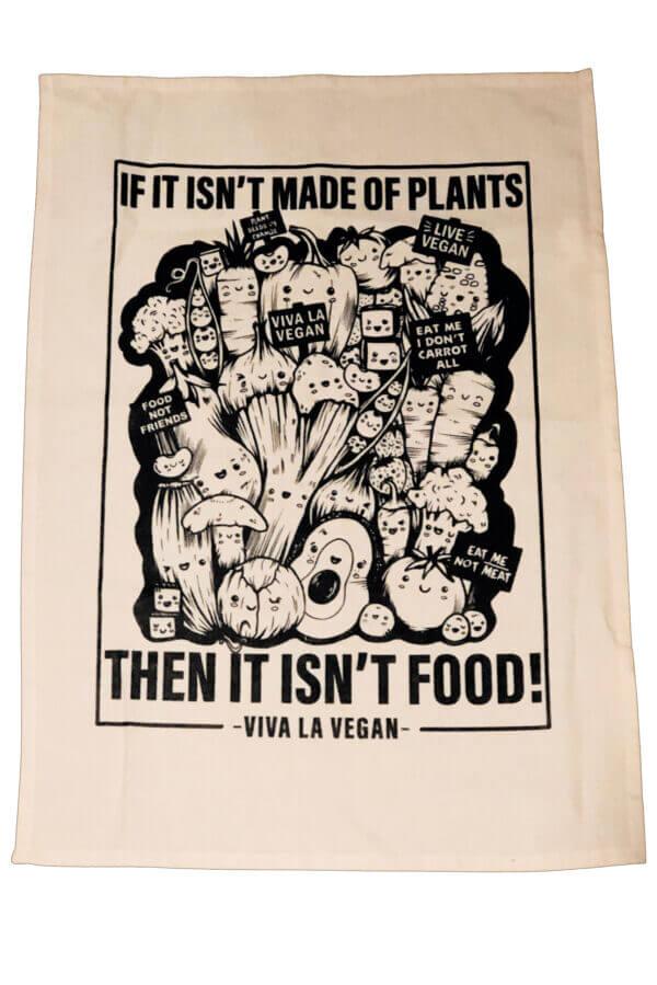 Vegan Tea Towel. 100% cotton. Vegetable print by eco-ethical brand Viva La Vegan
