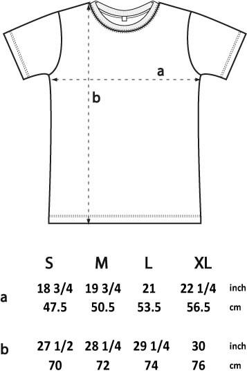 Sizing Chart for Vegan Jedi Unisex T Shirt