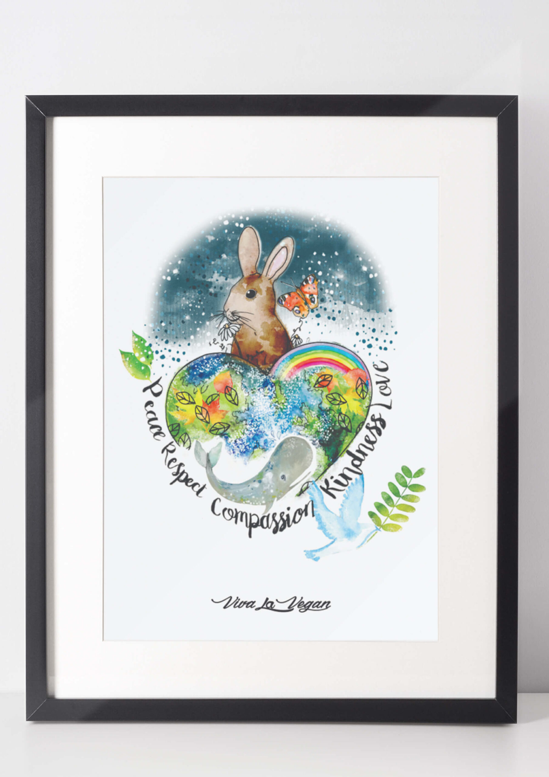 Global Compassion Art Print by eco ethical brand Viva La Vegan