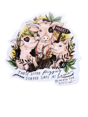 These Piggies stayed at home sticker by eco-ethical brand Viva la vegan