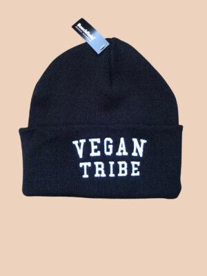 Vegan Tribe beanie. black. one size. By eco-ethical brand Viva La Vegan