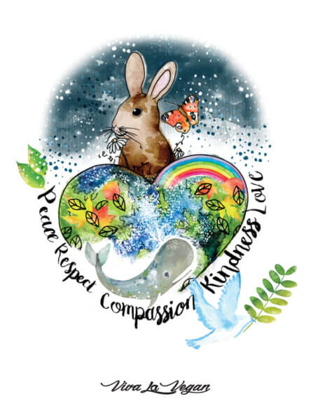 global compassion close up by eco-ethical brand Viva La Vegan