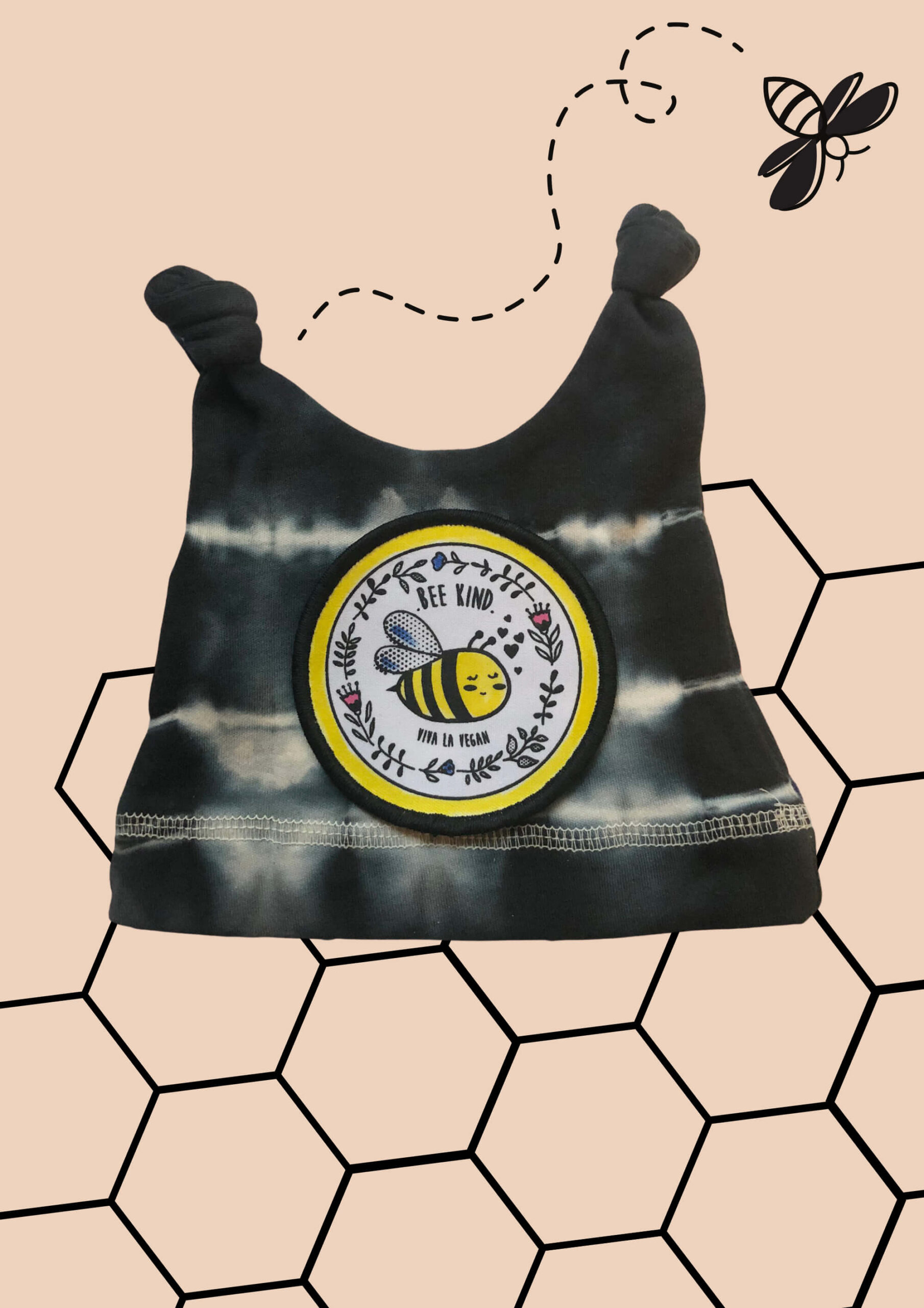 Bee king organic cotton knot hat. hand tie-dyed black