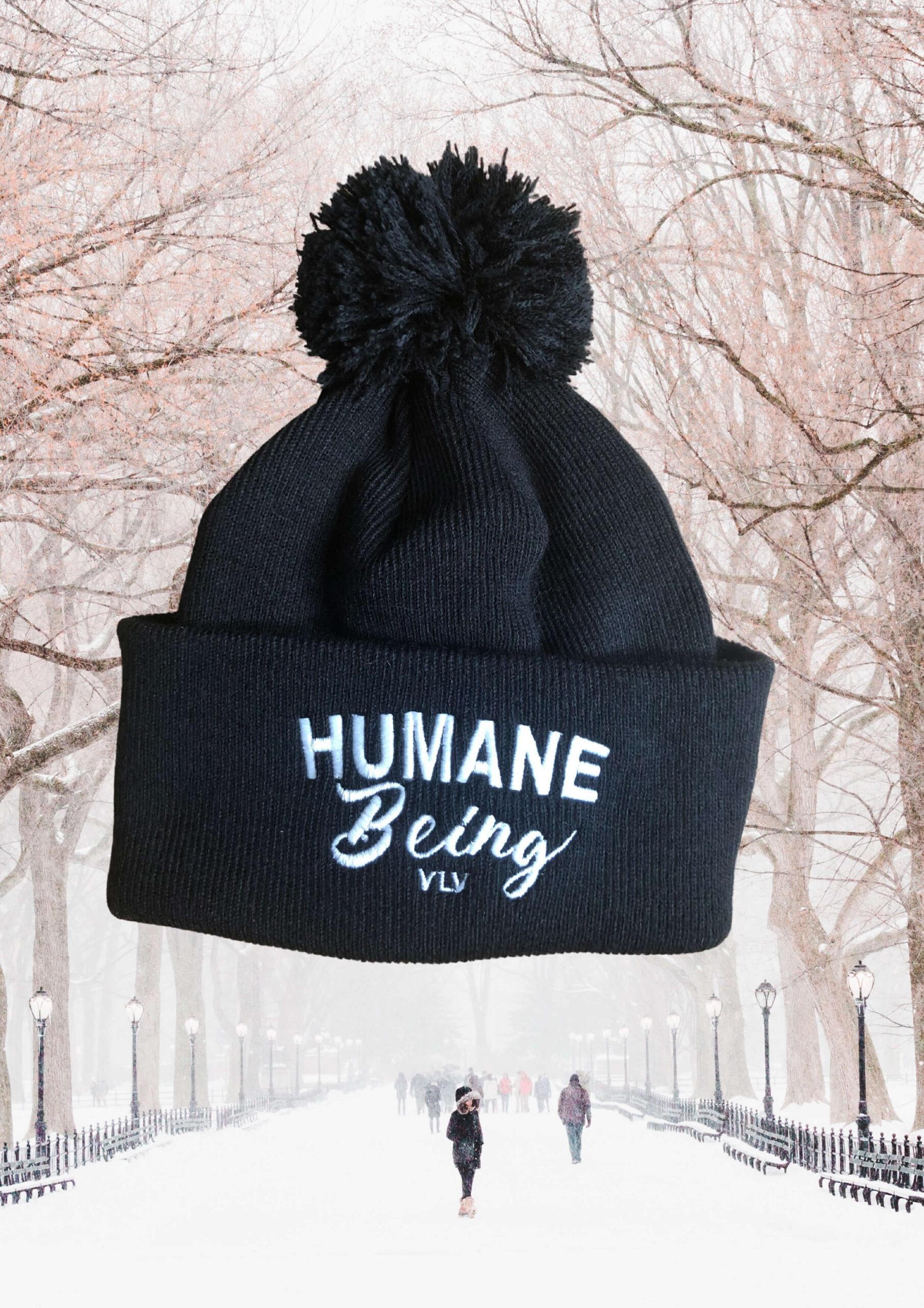 Humane Being Embroidered pom pom beanie by eco ethical brand Viva La Vegan