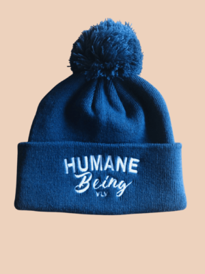 humane being pompom in airforce blue by Eco- ethical brand Viva La Vegan