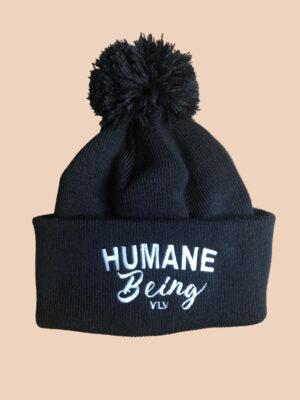 humane being pompom beanie in black