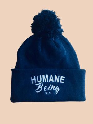 humane being pompom in navy by Eco ethical brand Viva La Vegan