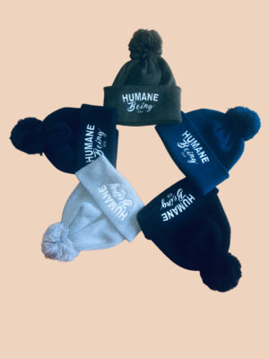 humane being pompom beanies