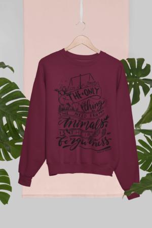 burgundy vegan organic sweatshirt