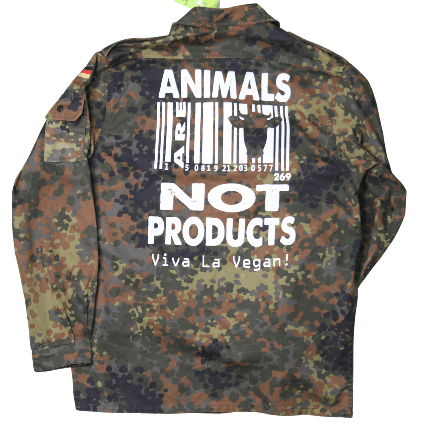 """Vegan Jacket comprising ex military jacket boldly screen printed on the rear with """"Animals are not Products"""" on the rear."""