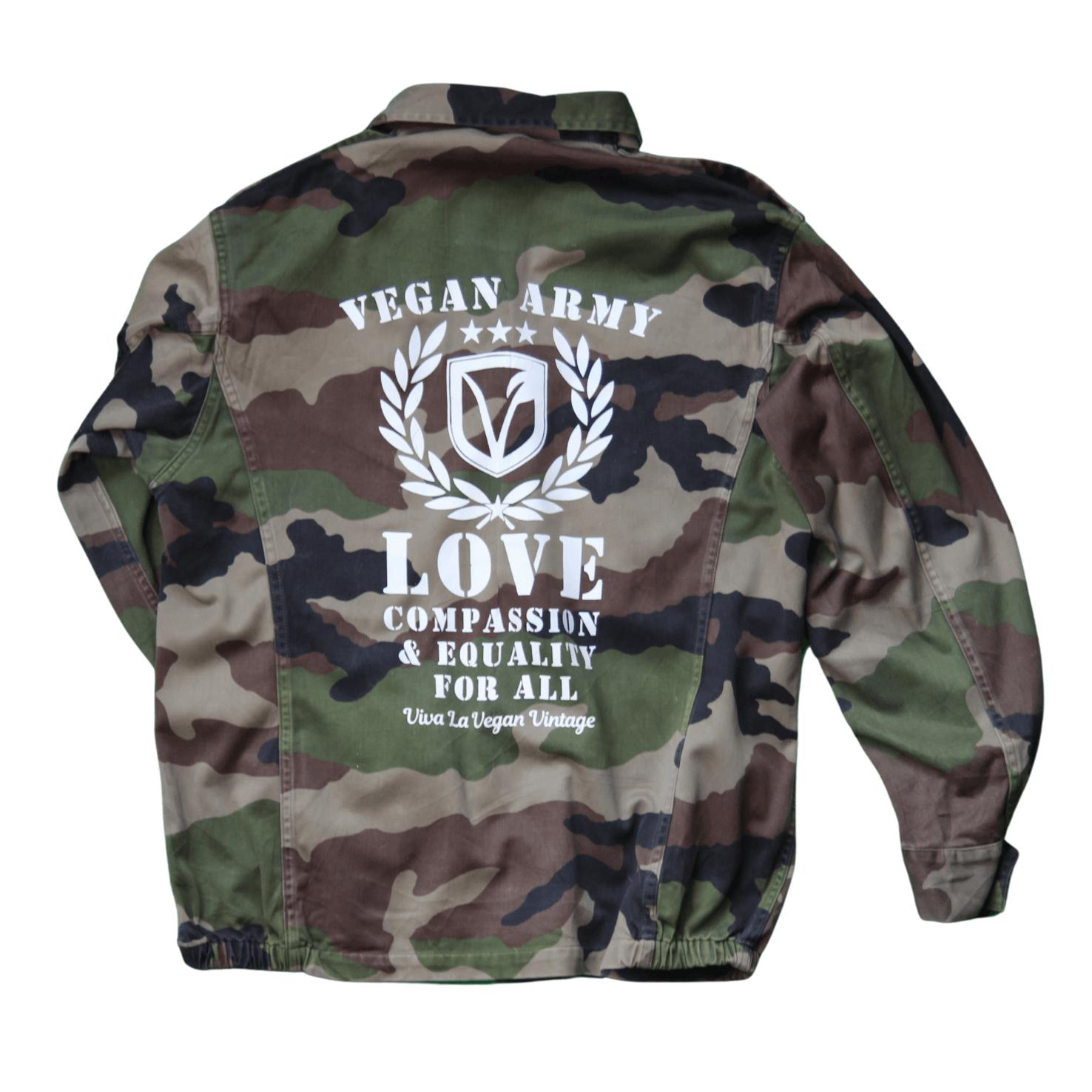 Viva La Vegan's Reworked Vegan Jacket comprising Vegan Army Screen Printed Vegan Army Jacket