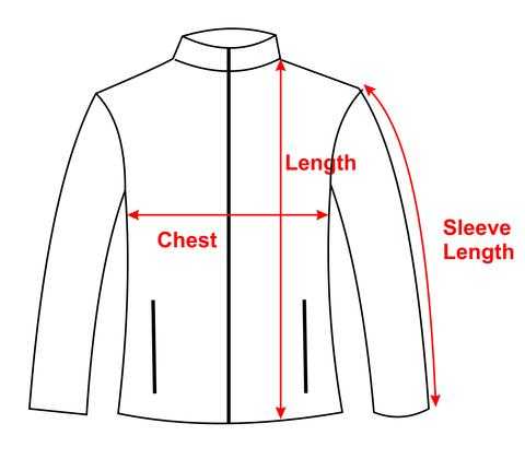 Drawing of jacket showing customer how to measure it
