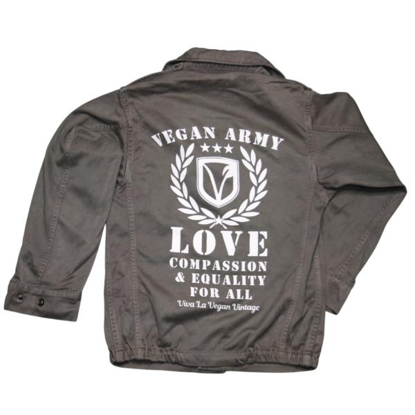 Vegan Jacket comprising screen printed french military rewroked garment