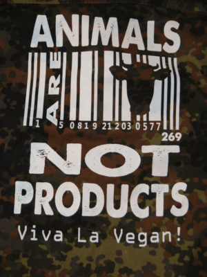 Animals not producut design screen printed on camo jacket