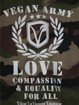 """Vegan Army"" Print on Camo Jacket"