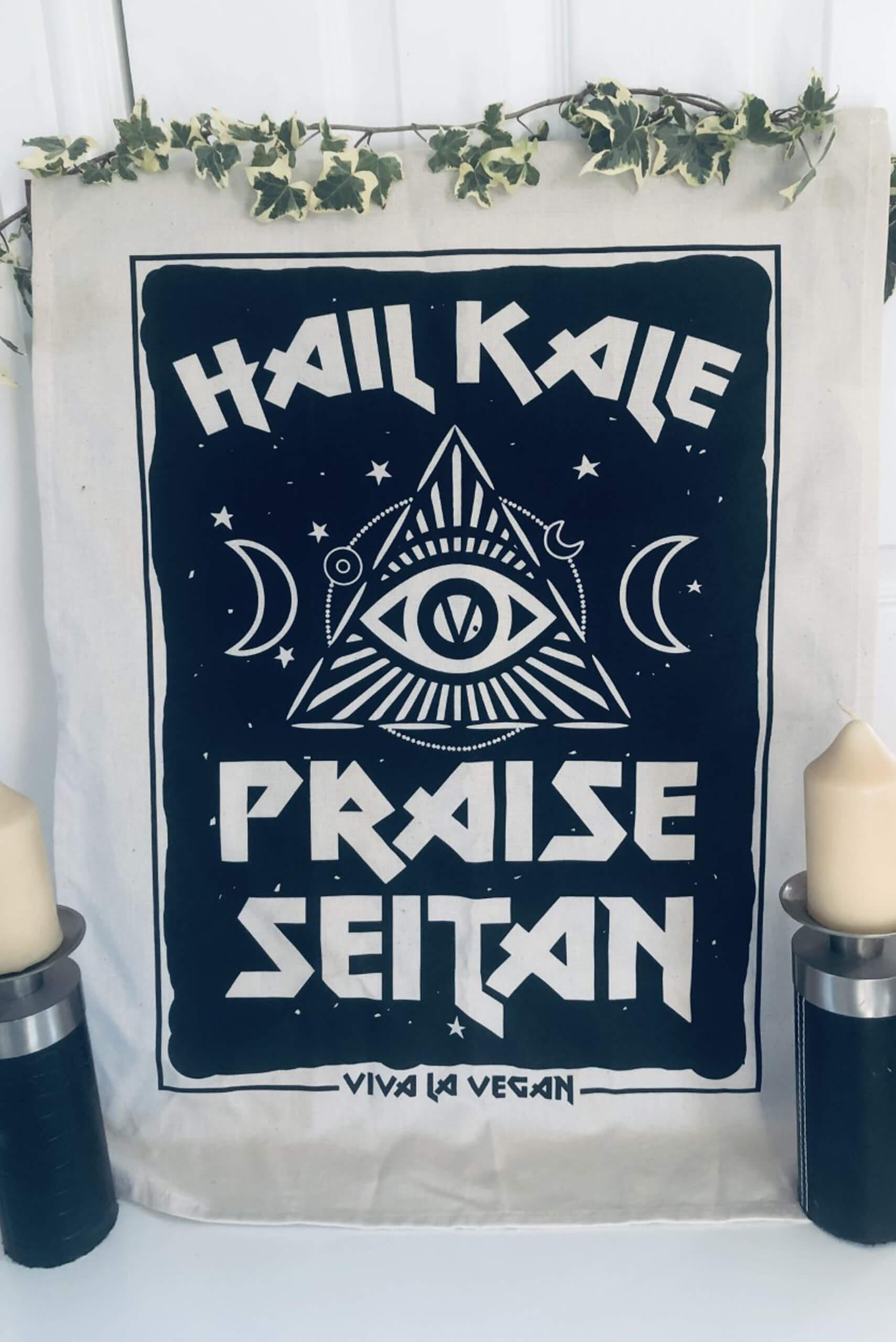 Hail Kale - Praise Seitan Vegan Tea towel full design. By eco ethical brand Viva La Vegan
