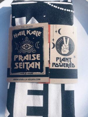 Hail Kale - Praise Seitan Vegan Tea towel packed - back. By eco ethical brand Viva La Vegan