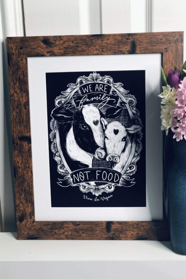 We are family not food A4 Art print by eco-ethical brand Viva La Vegan