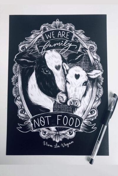 family not food A4 Art Print by eco-ethical brand Viva La Vegan