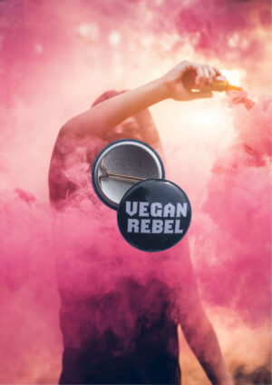 Vegan Rebel 25mm badge by eco-ethical brand Viva La Vegan