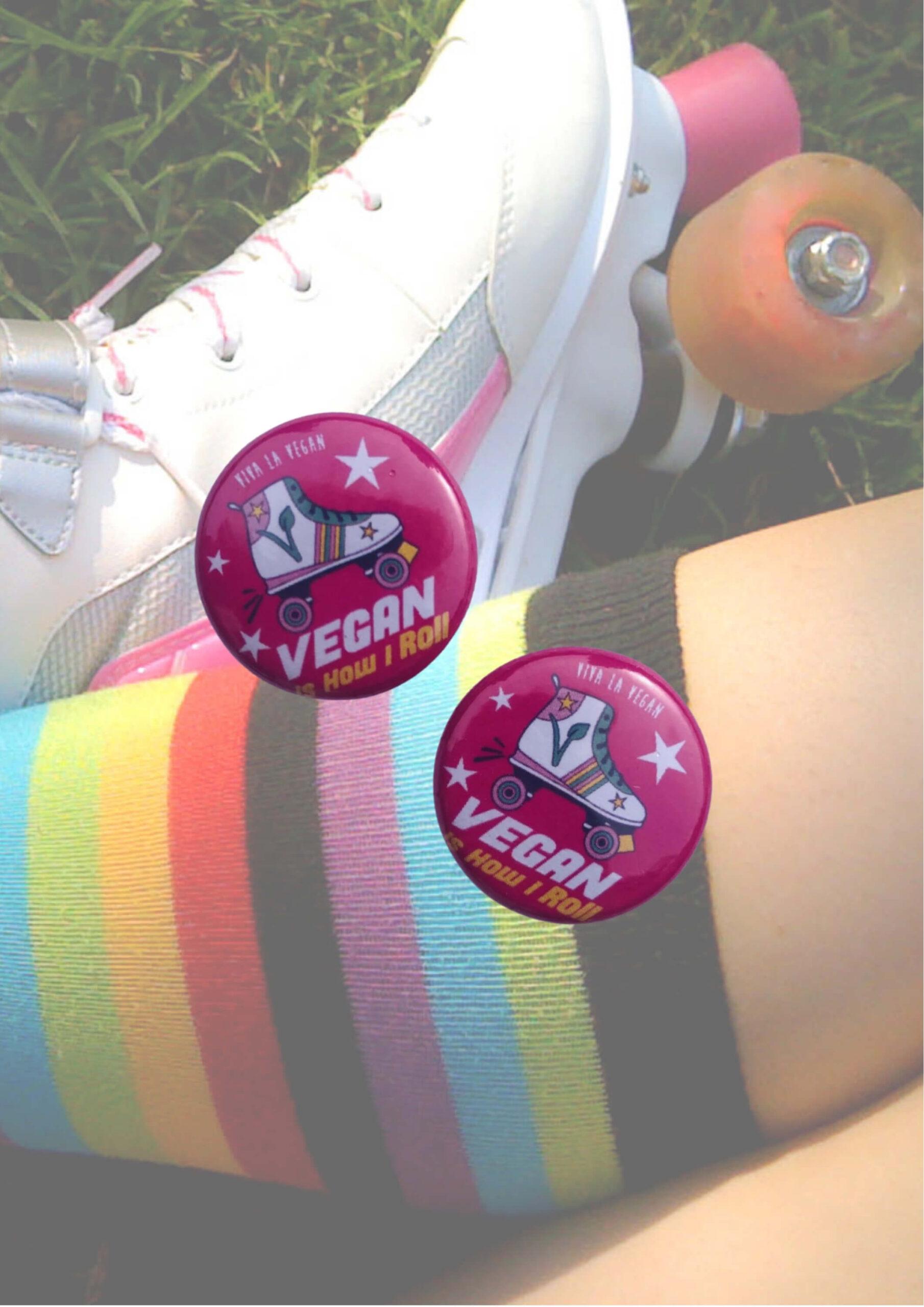 Vegan Skater 25mm Badge, Vegan This is how I roll by eco-ethical brand Viva La Vegan