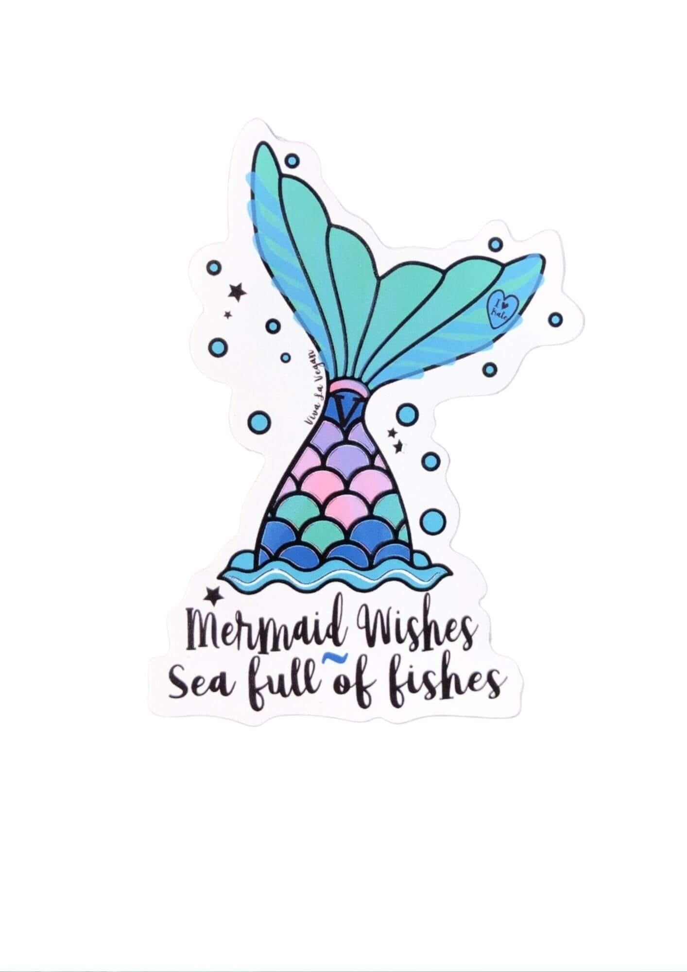 Mermaid Wishes A Sea Full Of Fishes Sticker by eco ethical brand Viva La Vegan