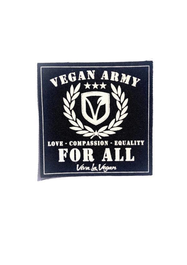 Vegan Army printed sew on patch by eco ethical brand Viva La Vegan